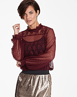 Blackcurrant Mesh Blouse With Lace