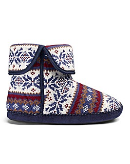 Fairisle Knitted Slipper Boot