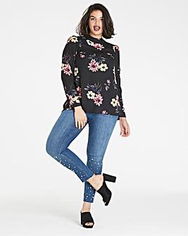 Black Floral High Neck Blouse