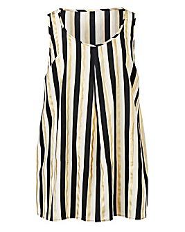 Stripe Foil Print Sleeveless Vest Top