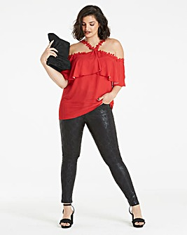 Red Bardot Lace Trim Top