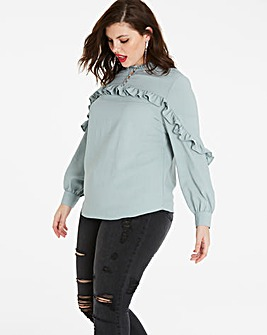 Green Tea Ruffle Sleeve and Yoke Blouse
