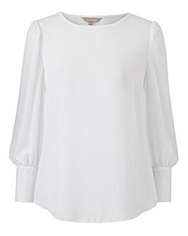 Ivory Deep Cuff Long Sleeve Blouse