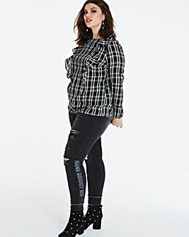 Multi Check Ruffle Top