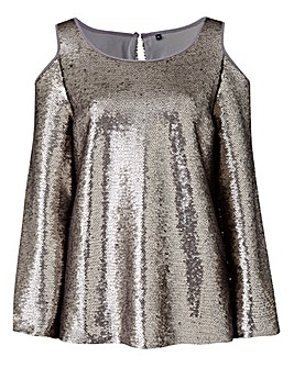 Silver Sequin Cold Shoulder Top