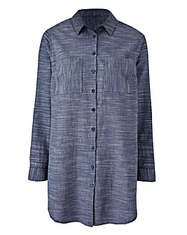 Indigo Tunic Shirt With Curved Hem