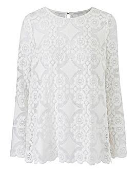 Petite White Lace Top