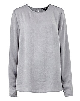 Grey Washed Satin Ruched Shell Top