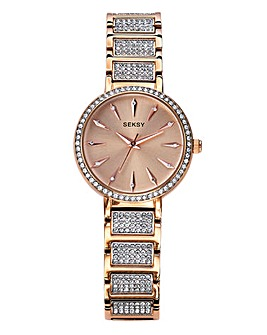 Seksy Ladies Rose Tone Crystal Set Watch