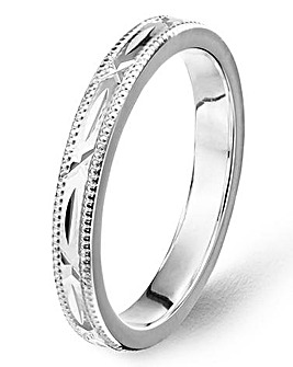Silver Ladies Diamond Cut Wedding Band