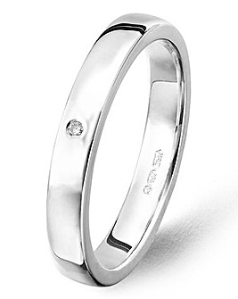 Argentium Silver 1 Diamond Wedding Band