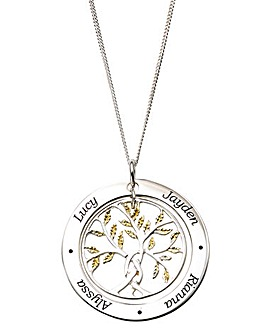 Personalised Gold Family Tree Pendant