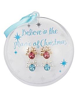 Reindeer Earrings Bauble Set