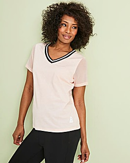 Sports V Neck Pleat Back Tshirt