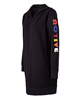 Sports Longline Zip Through Hoodie