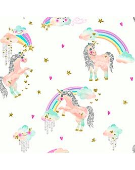 Rainbow Unicorn White Glitter Wallpaper