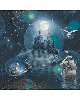 Magical Kingdom Blue Glitter Wallpaper