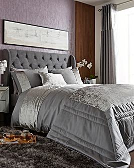 Boulevard Velvet Dove Grey Duvet Set