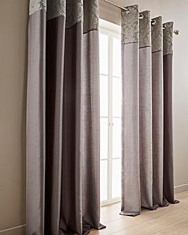 Darcy Damask Top Border Eyelet Curtains