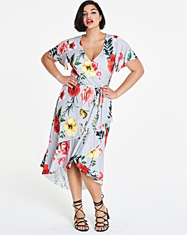 Ruffle Print Wrap Front Midi Dress