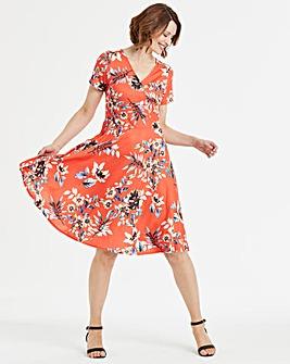 Floral Print Skater Wrap Dress