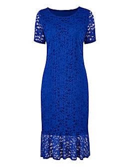 Lace Fluted Hem Bodycon Dress