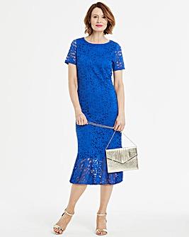 Lace Fluted Hem Bodycon Dress