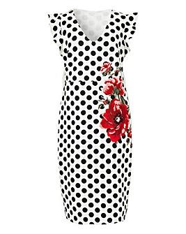 Embroidered Scuba Bodycon Dress