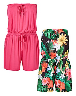 Pack of 2 Bandeau Playsuits