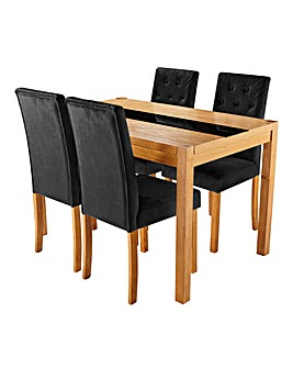 Oakham Glass Panel Table 4 Grace Chairs