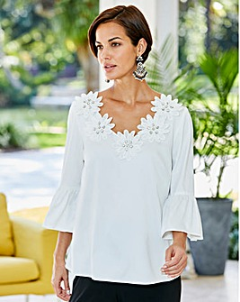 Joanna Hope Applique Trim Blouse