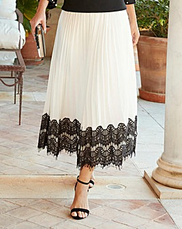 Joanna Hope Lace Trim Pleated Midi Skirt
