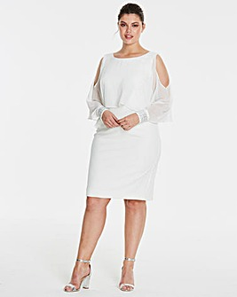 Joanna Hope Cold Shoulder Cape Dress