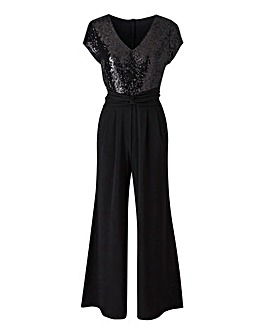 Joanna Hope Petite Sequin Trim Jumpsuit