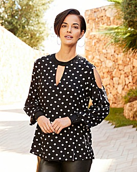 Joanna Hope Spot Cold Shoulder Blouse