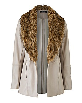 Joanna Hope Faux Fur PU Jacket
