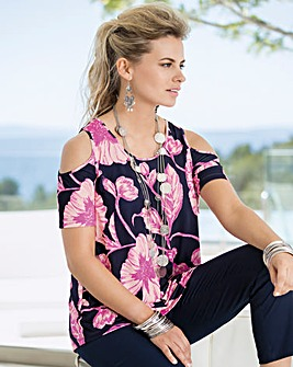 Together Floral Cold Shoulder Jersey Top