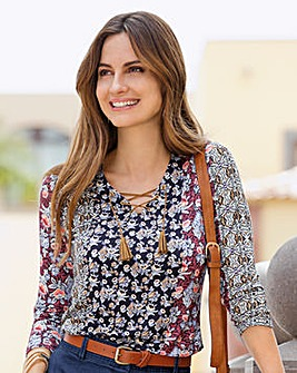 Together Patch Print Jersey Top