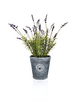 Artificial Lavender in Round Stone Pot