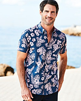 W&B Navy Short Sleeve Floral Shirt R