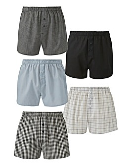 Capsule Black/Grey Pack of 5 Woven Boxer
