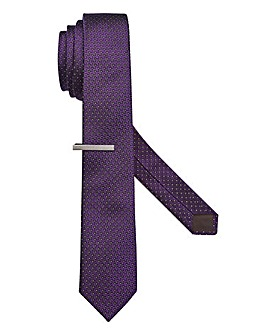Capsule Purple Polka Dot Tie with Clip