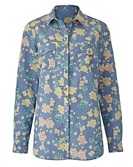 Multi Print Floral Print Chambray Shirt