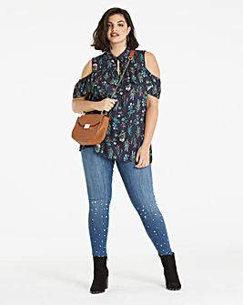 Navy Floral Frill Swing Shirt