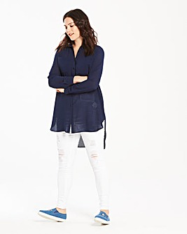Indigo Long Sleeve Shirt with Open Back