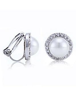 Jon Richard pave pearl clip on earring
