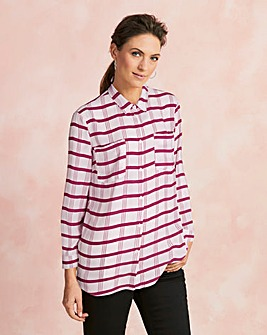 Berry Check Oversized Shirt