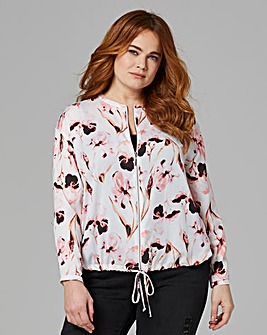 Ivory Print Zip Front Bomber Blouse