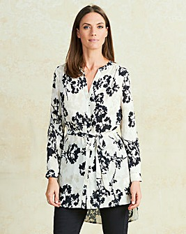 Floral Ivory Print Belted Tunic