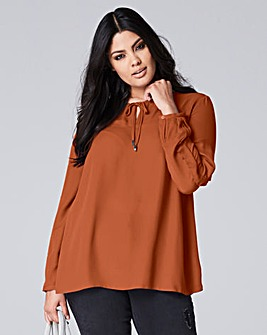 Ruffle Sleeve Blouse With Tie Neck